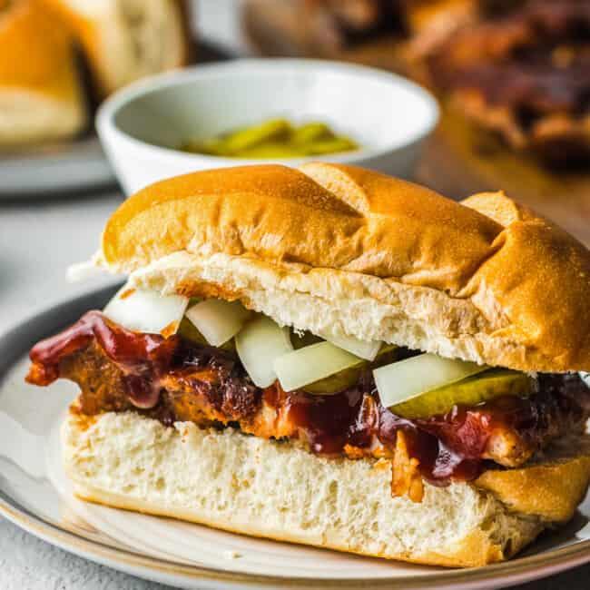 copycat mcdonalds mcrib sandwich on a plate