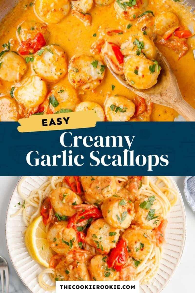 creamy garlic scallops pinterest collage