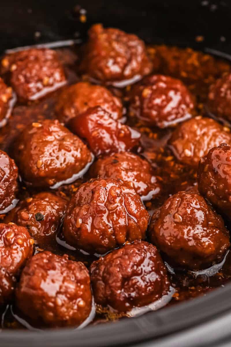 Teriyaki meatballs in crockpot.