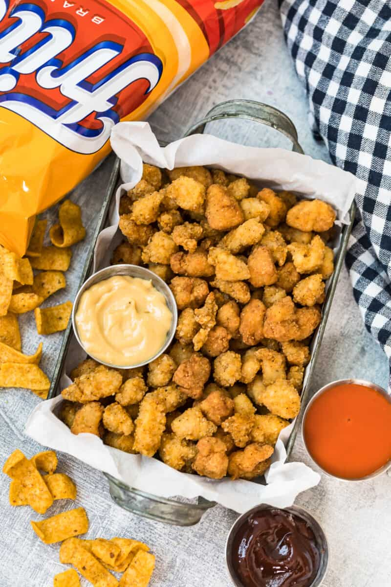 fritos popcorn chicken in serving dish