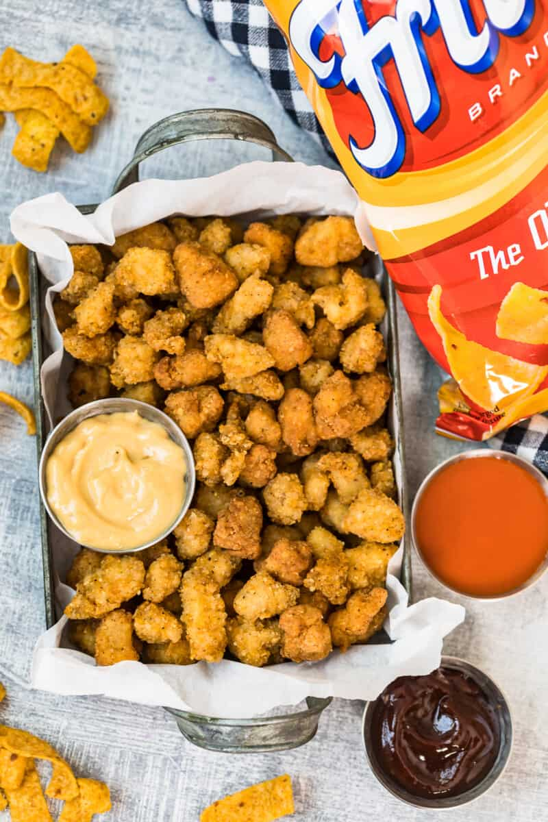 popcorn chicken crusted with fritos