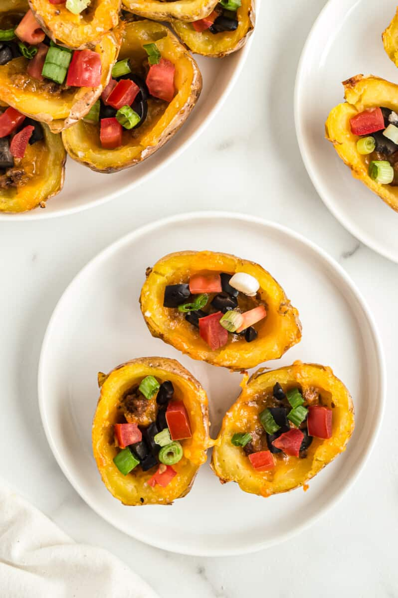 mini mexican potato skins on plate