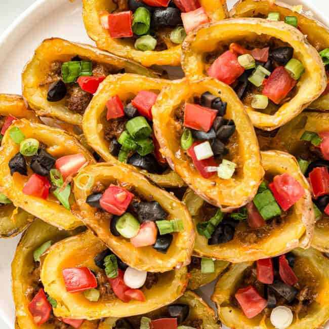 mexican potato skins on large plate