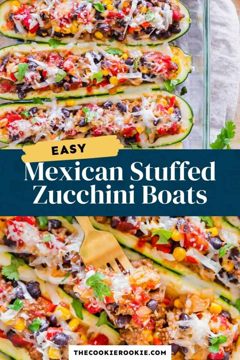 mexican stuffed zucchini boats pinterest collage