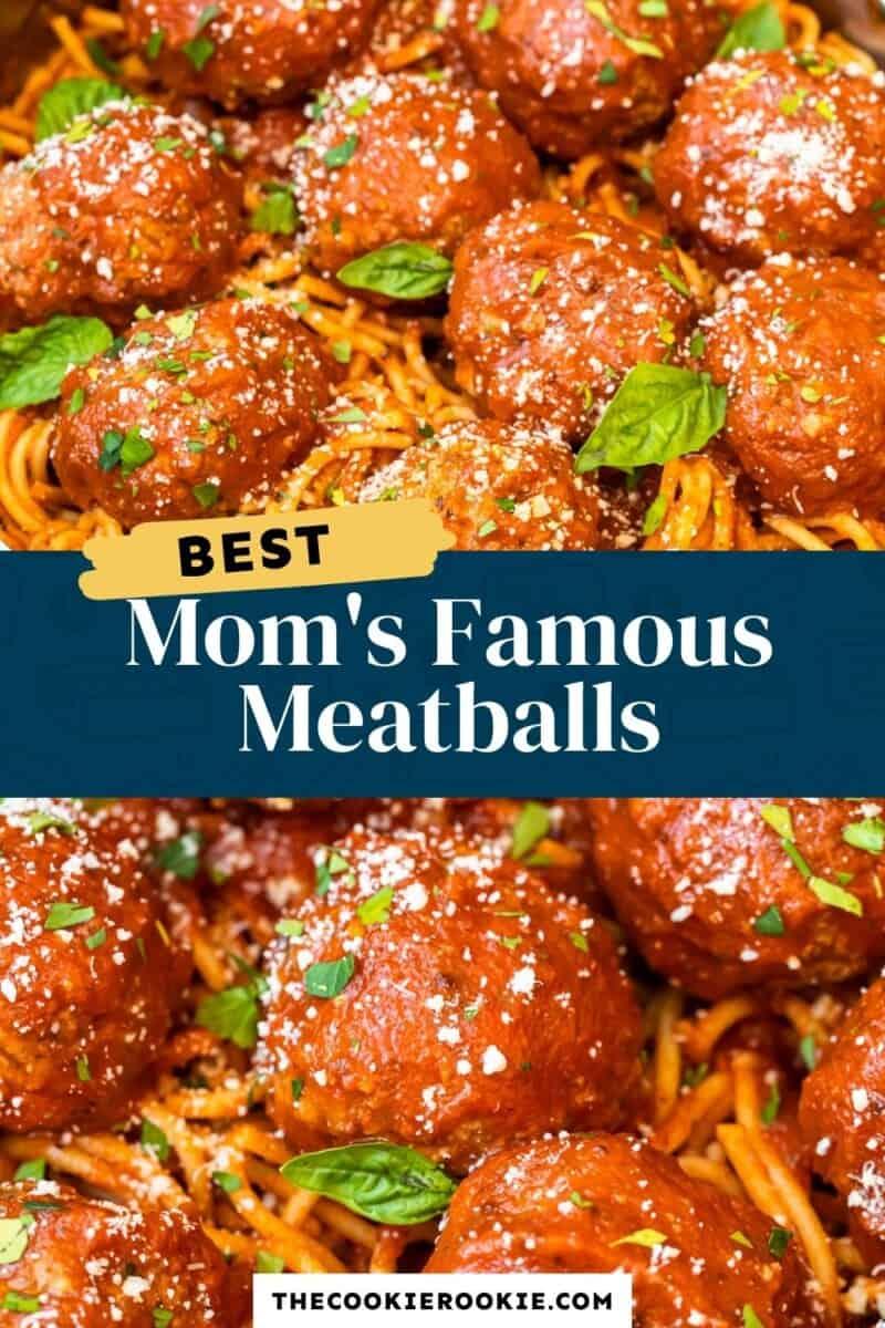 mom's meatball recipe pinterest collage