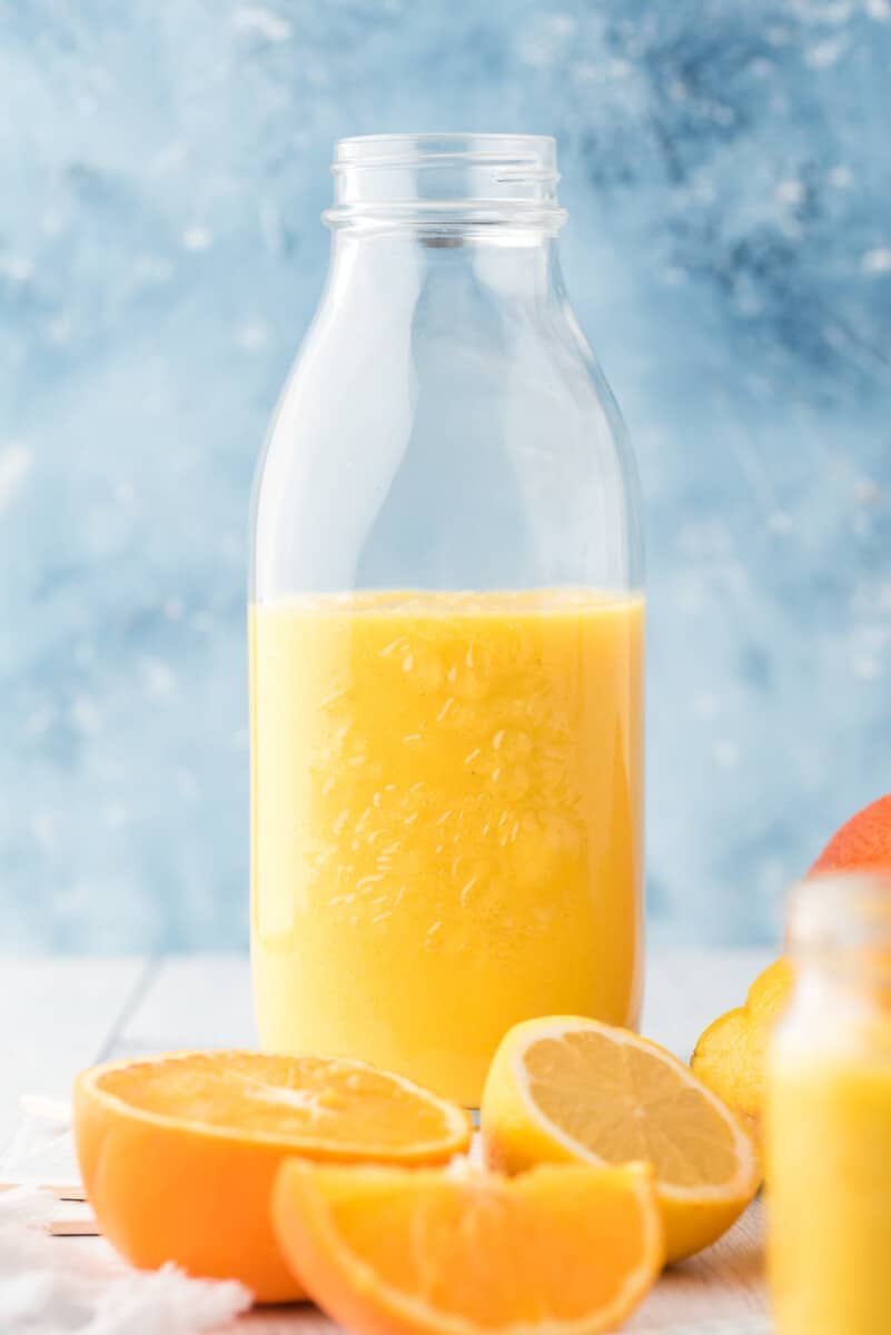orange ginger smoothie in glass