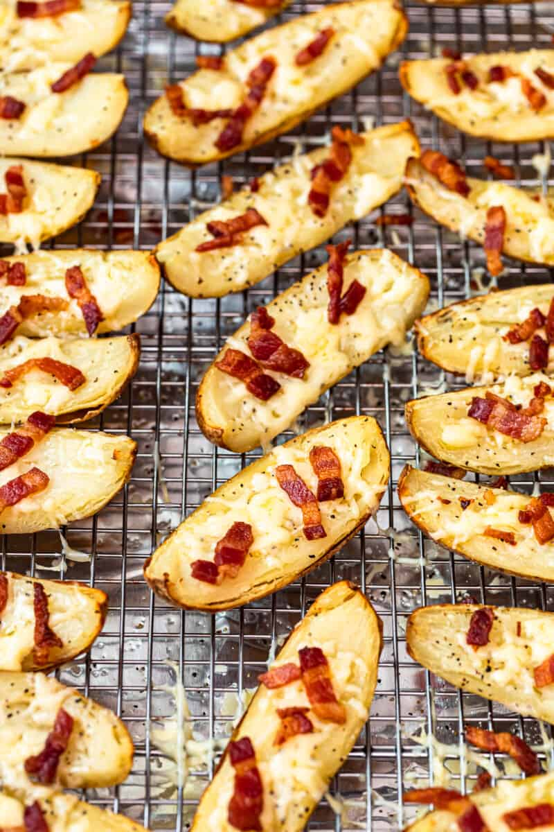 cheesy potato skins with bacon fresh out of oven