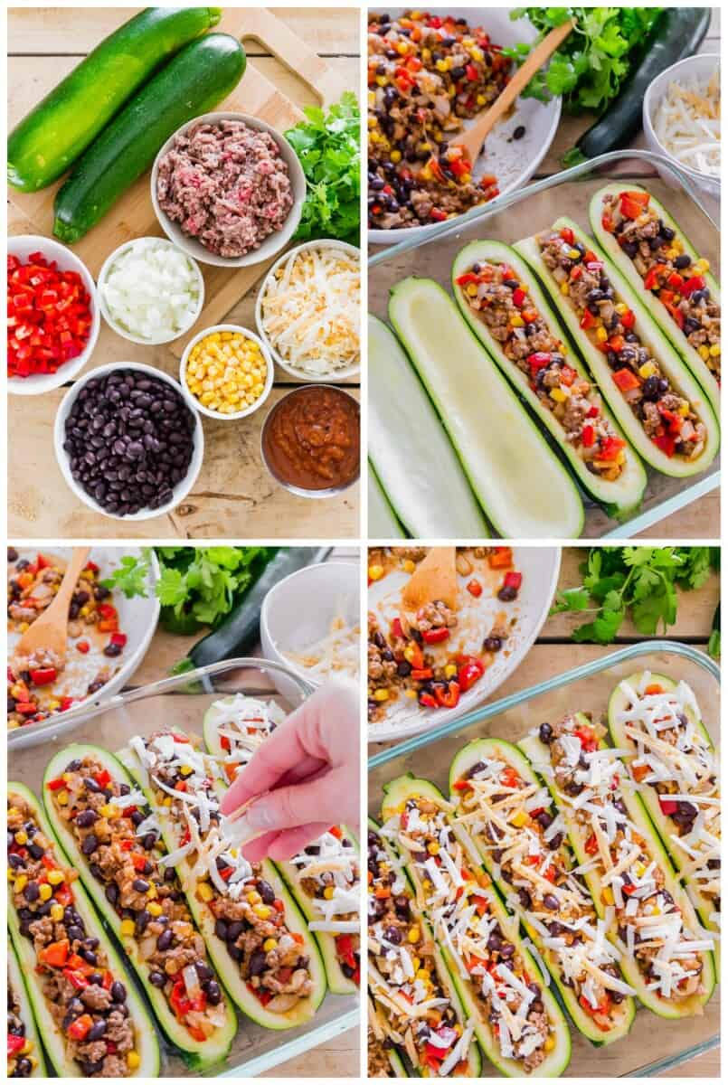 how to make Mexican stuffed zucchini boats