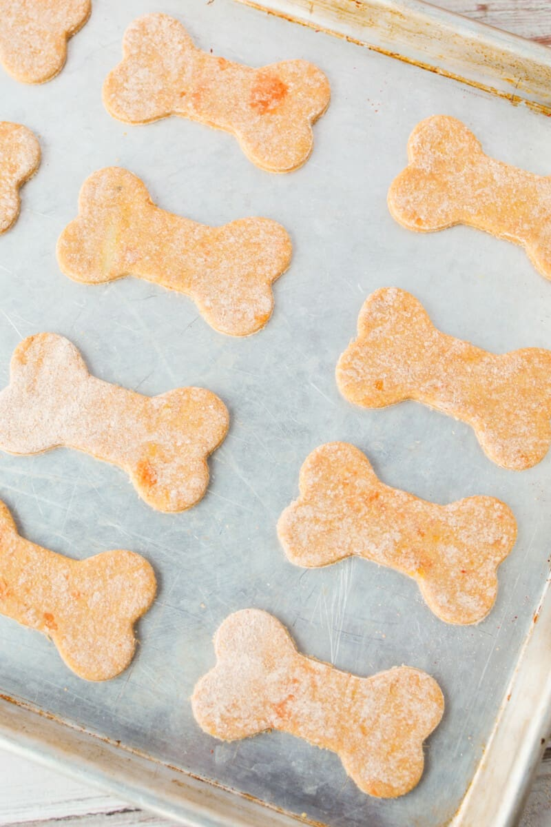 sweet potato dog treats on baking sheet