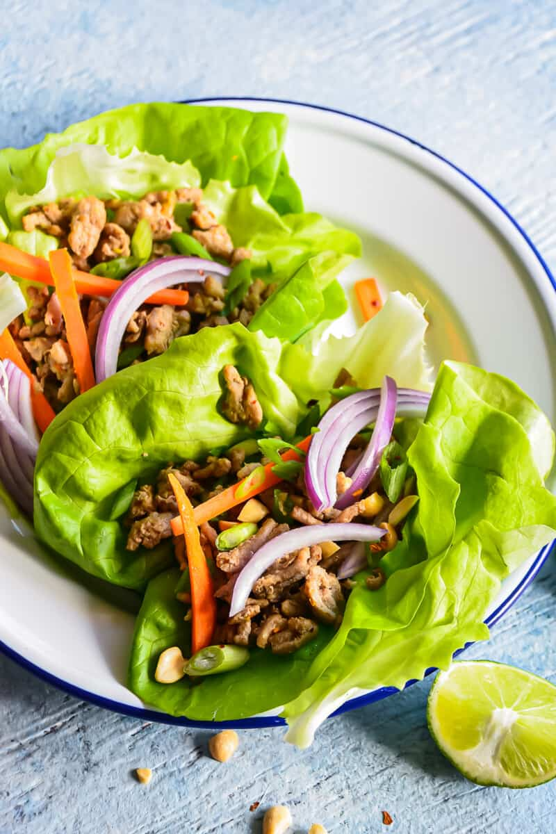 healthy turkey lettuce wraps on plate