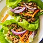 overhead image of turkey lettuce wraps