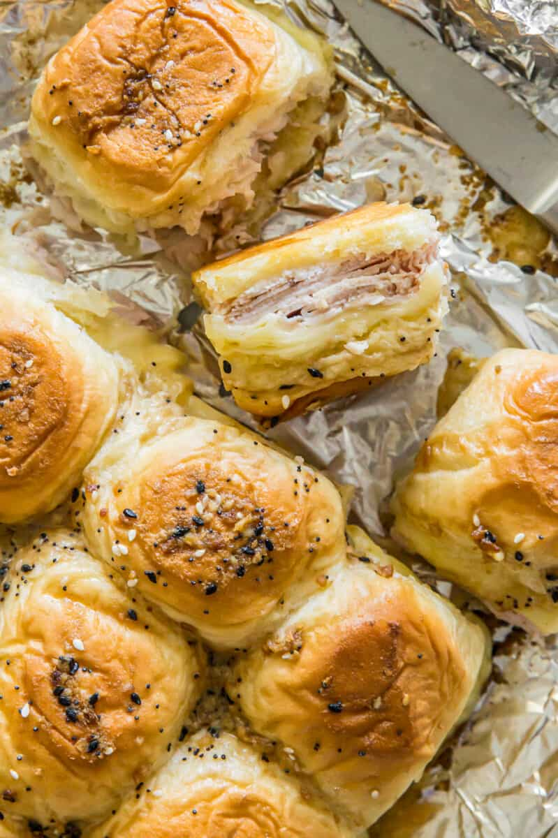 Baked turkey and cheese sliders.