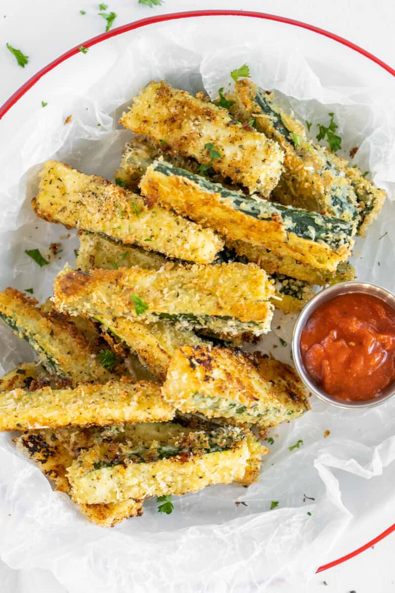breaded zucchini fries with ketchup