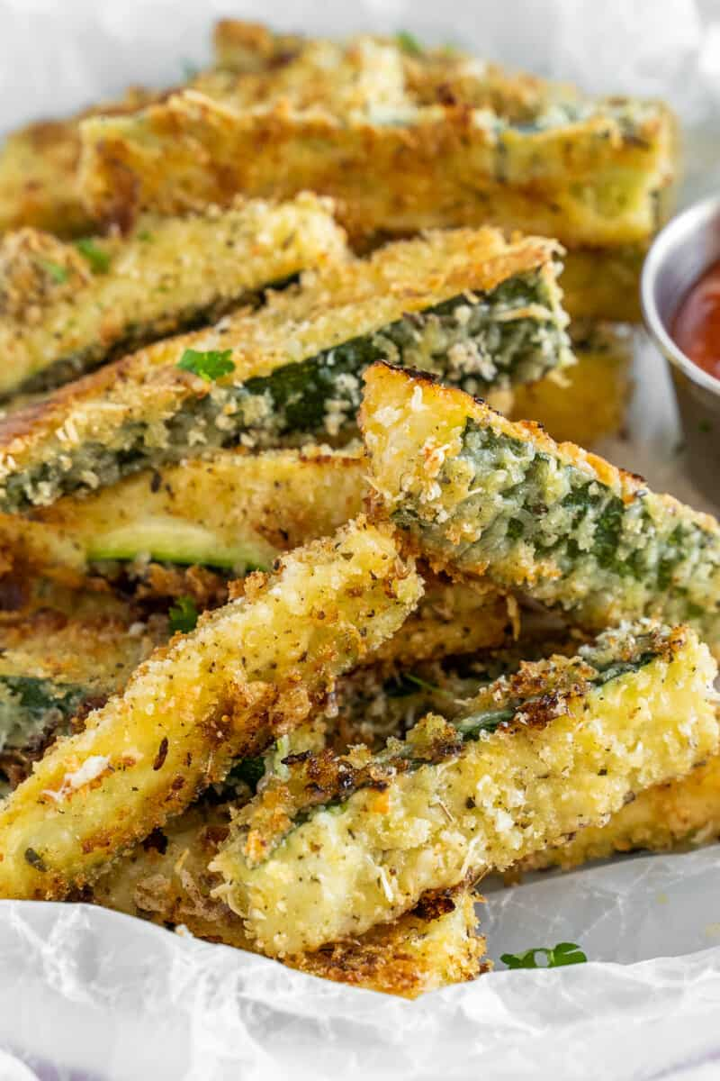 bowl with crispy baked zucchini fries
