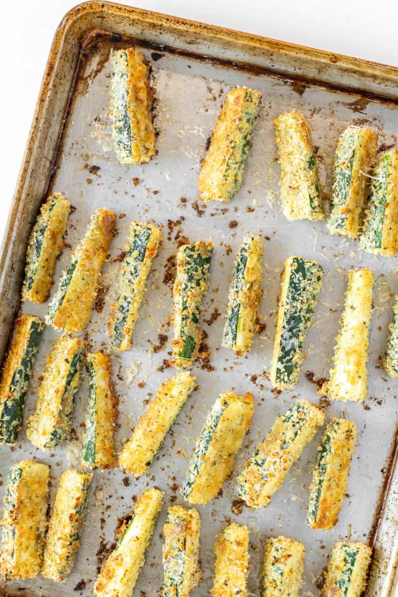 baked zucchini fries on sheet pan