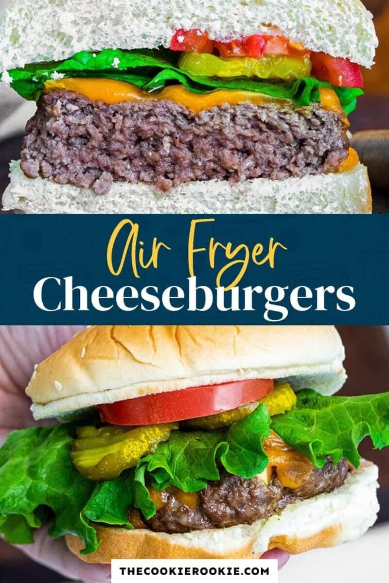 air fryer cheeseburgers pinterest collage