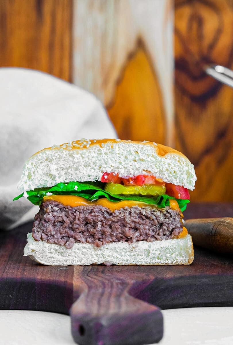 air fryer cheeseburger cut in half