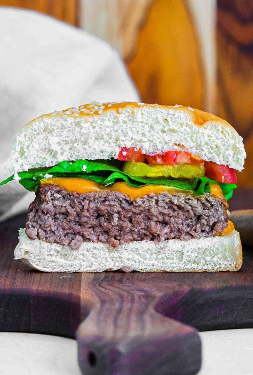 air fryer hamburger cut in half