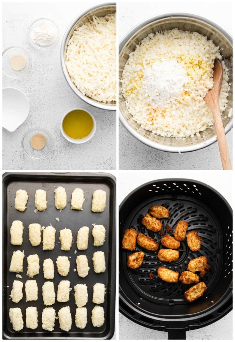 step by step photos for how to make air fryer tater tots