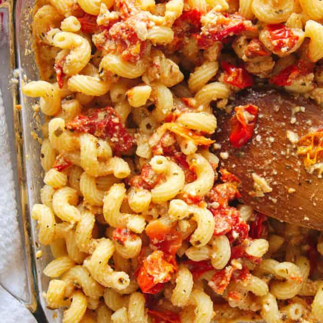 baking dish with baked feta pasta