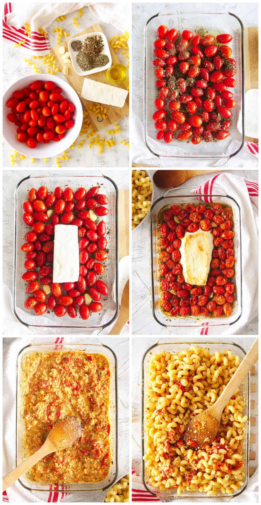 step by step photos for how to make baked feta pasta