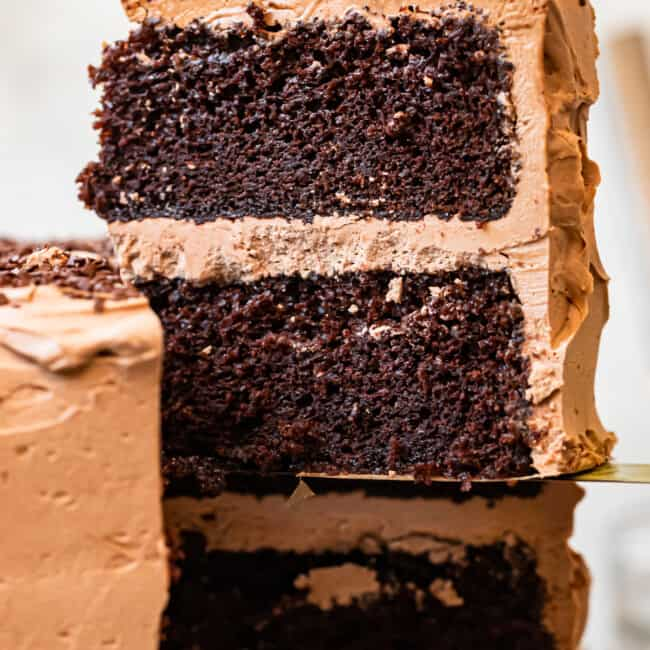 up close slice of chocolate cake with chocolate frosting