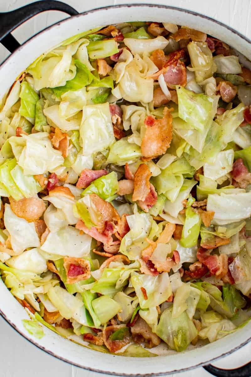 cabbage and bacon cooked in dutch oven