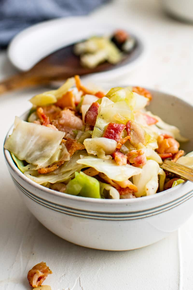 white bowl filled with cabbage and bacon