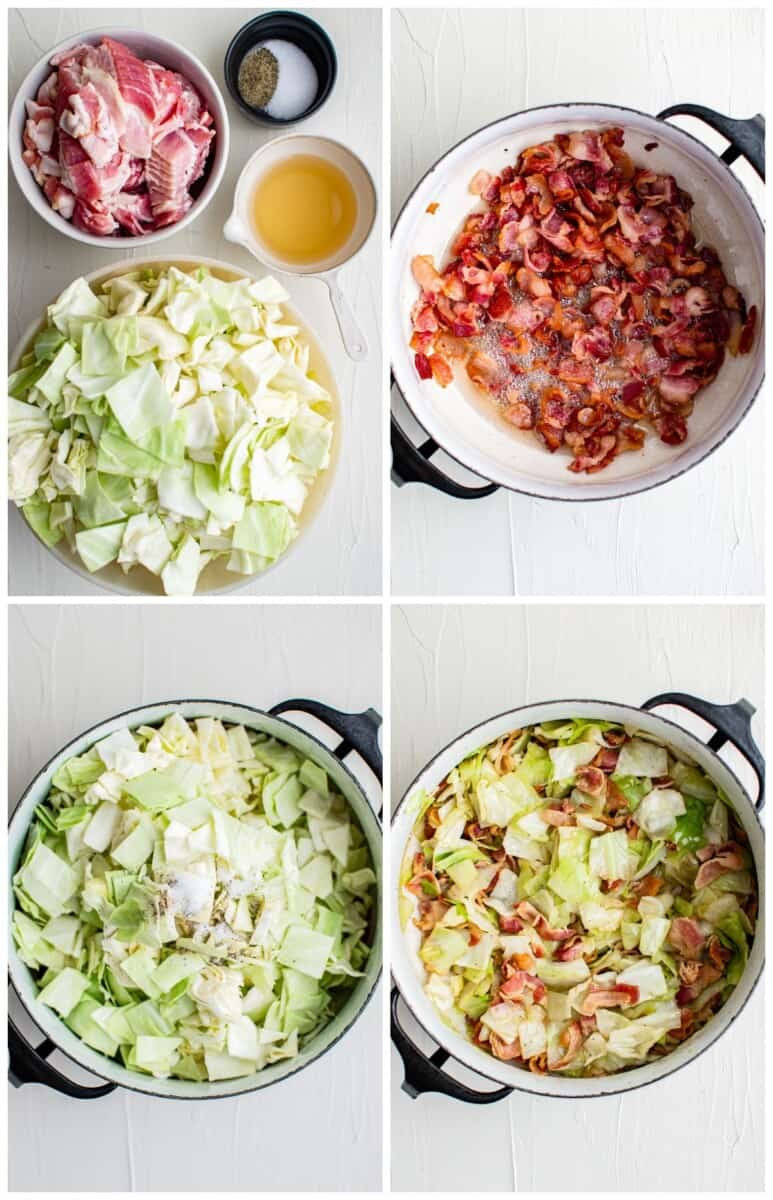 step by step photos of how to make cabbage and bacon
