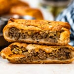 stacked cheeseburger hand pies showing the middle