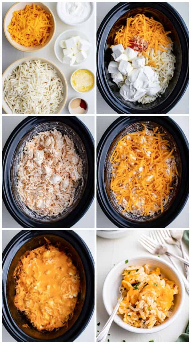 step by step photos for how to make crockpot cheesy hashbrowns