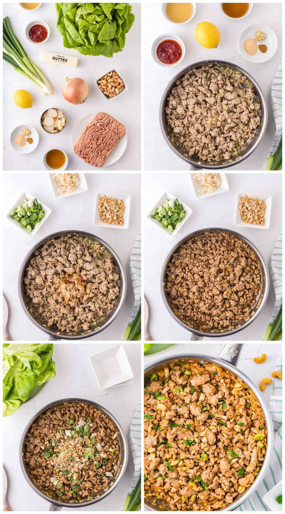 step by step photos for how to make chicken lettuce wraps
