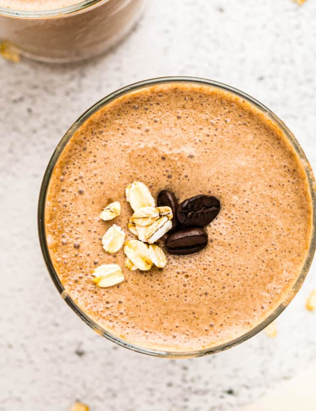overhead up close coffee smoothie