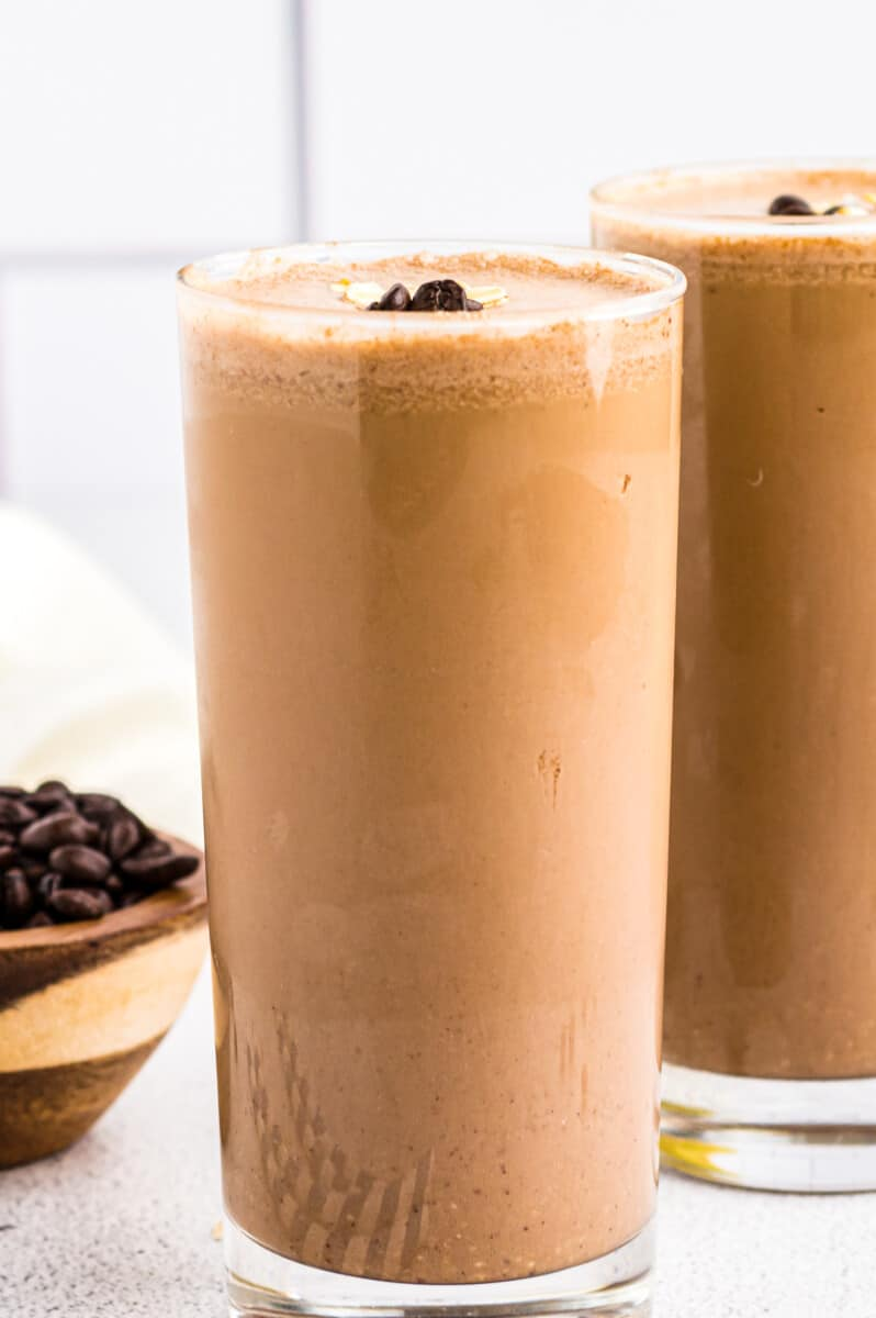 two coffee smoothies in tall glasses