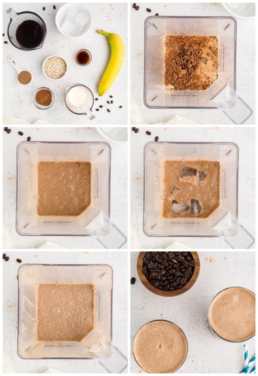 step by step photos for how to make coffee smoothies