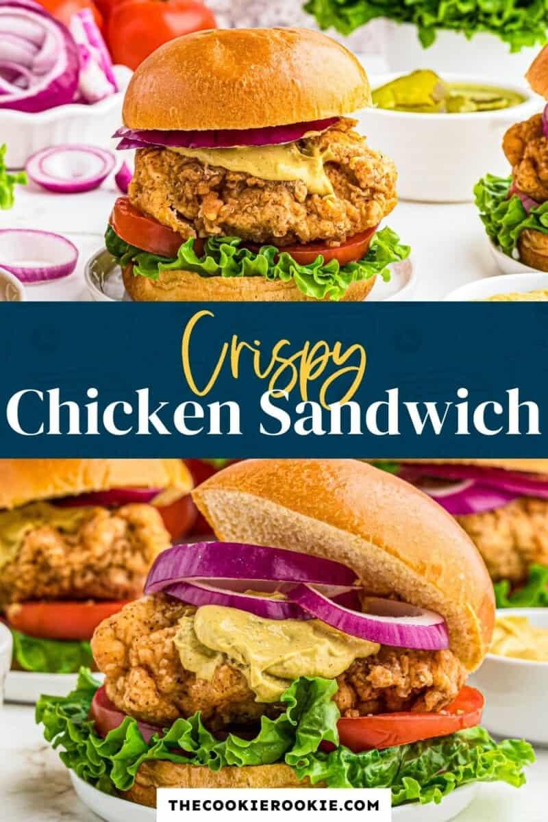 crispy chicken sandwich pinterest collage