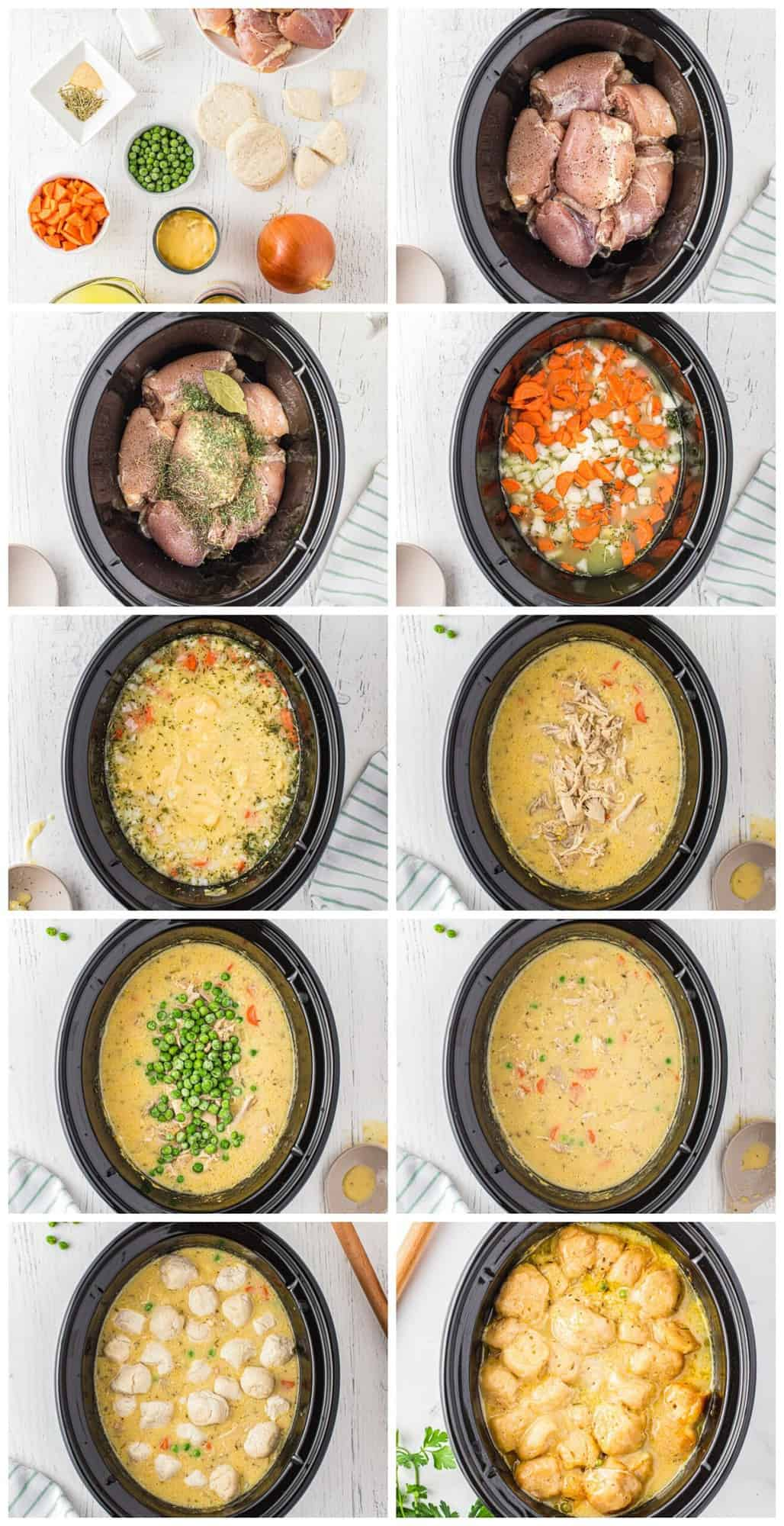 step by step photos of how to make crockpot chicken and dumplings