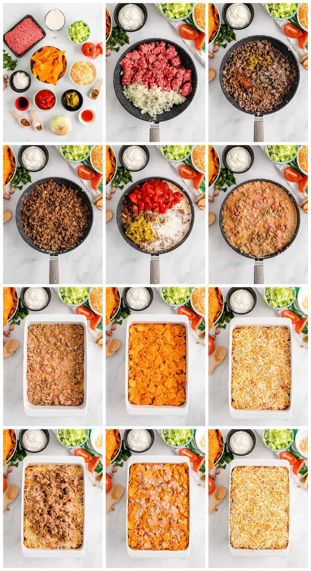 step by step photos for how to make doritos casserole