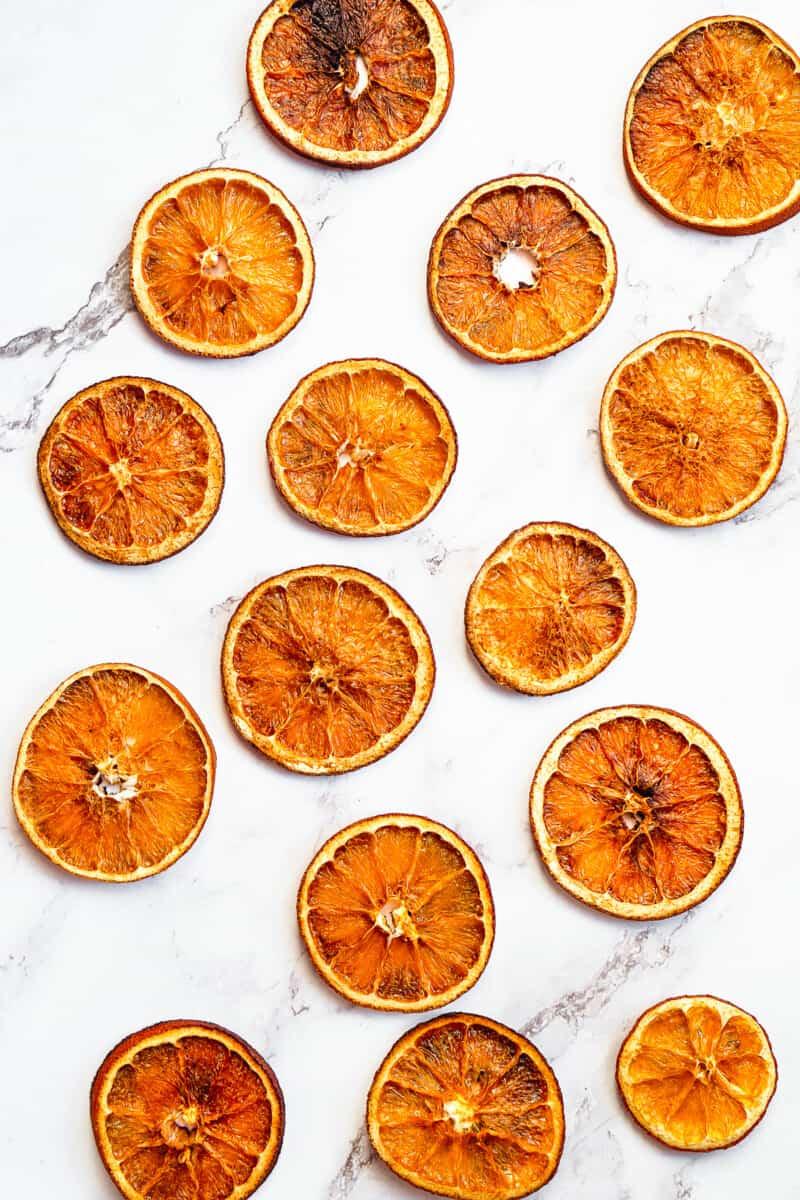 overhead dried orange slices on marble