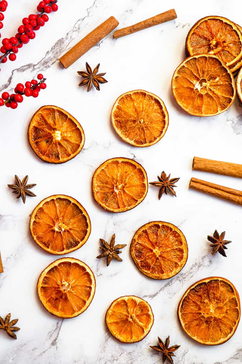 dried orange slices with anise and cinnamon