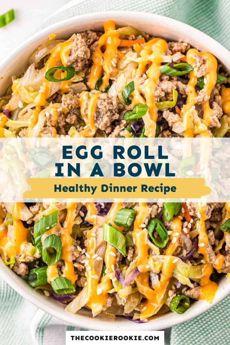 Keto Egg Roll in a Bowl pinterest collage
