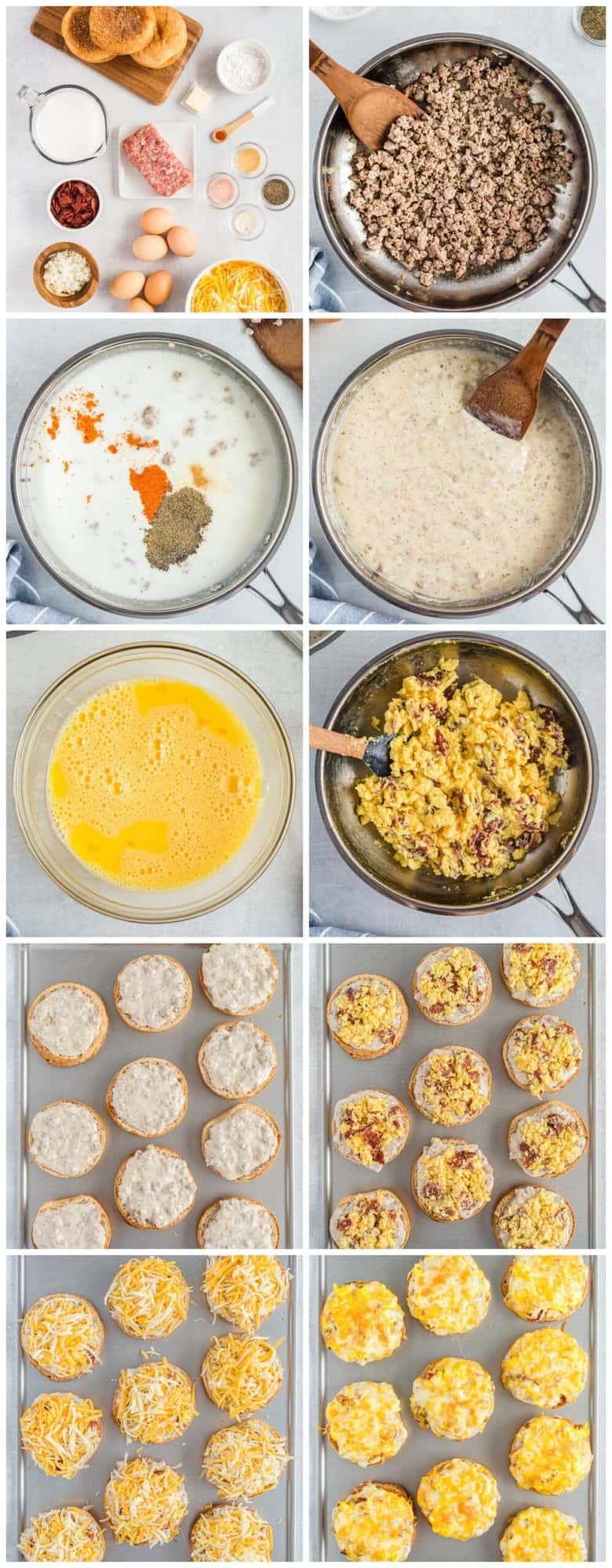 step by step photos for how to make english muffin breakfast pizzas