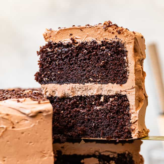 featured chocolate cake with chocolate frosting
