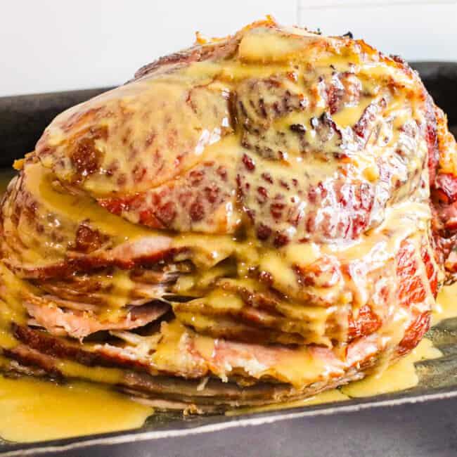featured honey mustard maple glazed ham