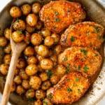 featured honey mustard pork chop skillet