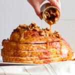 featured pecan bourbon glazed ham