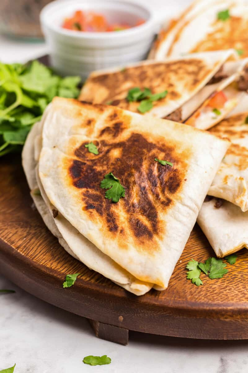 stacked beef quesadillas
