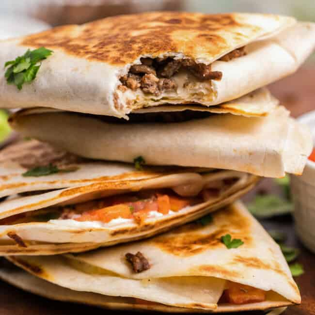stacked foldover quesadillas