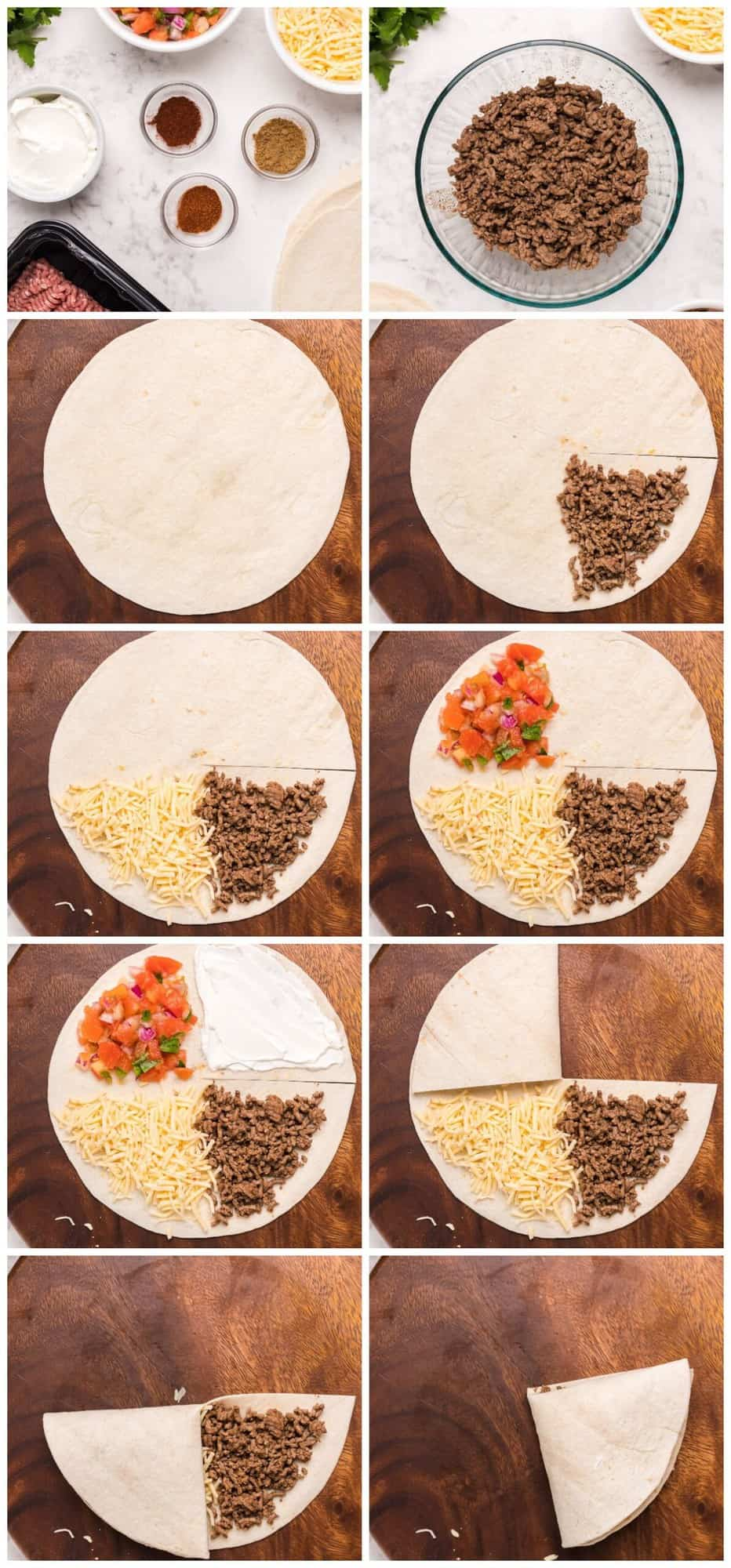 step by step photos for how to make foldover quesadillas, the viral tik tok recipe
