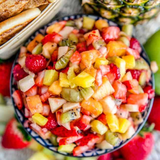 overhead fruit salsa in blue bowl